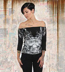 dámské triko Yakuza ORNAMENTAL SKULL OFF SHOULDER GLSB 13140 Black