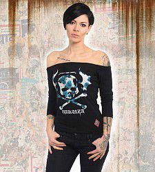 dámské triko Yakuza FLYING SKULL OFF SHOULDER GLSB 13139 Black