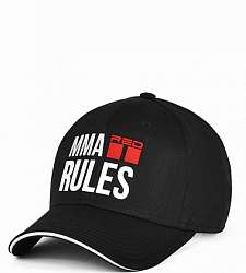 kšiltovka DOUBLE RED MMA RULES Black/White Cap